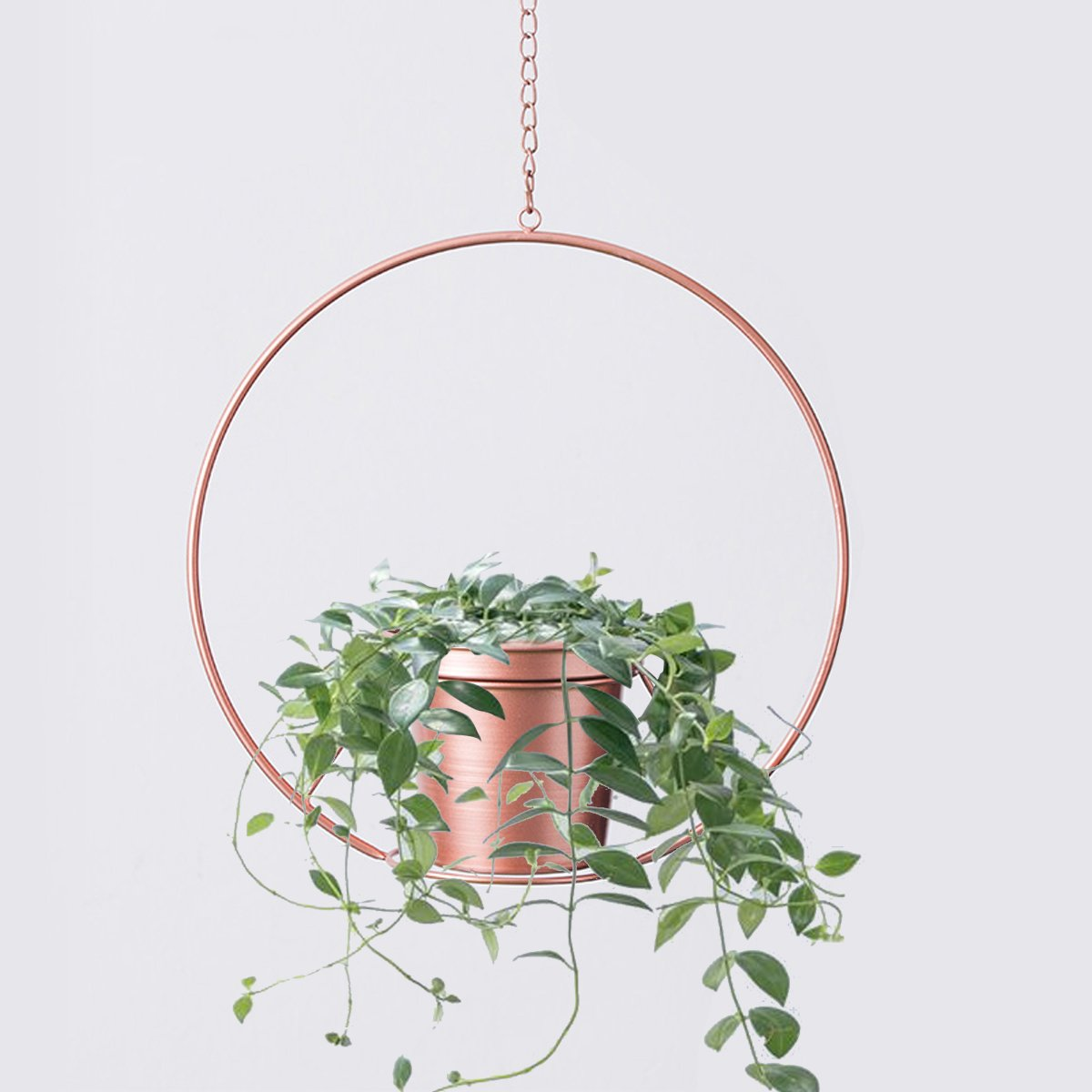 RISEON Boho Rose Gold Metal Plant Hanger,Metal Round Hanging Planter, Modern Planter, Mid Century Plant Holder, Minimalist Planter for Indoor Outdoor Home Decor