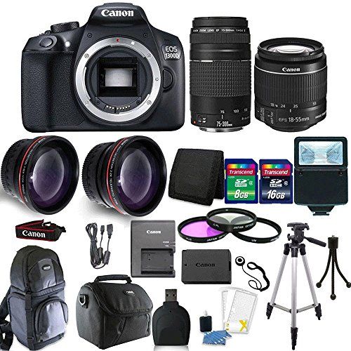 Canon EOS 1300D/T6 18MP DSLR Camera EF-S18-55mm + 75-300mm 4 Lens Accessory Kit For Sale