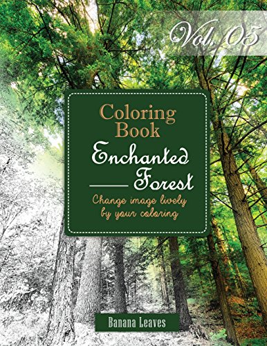 Enchanted Forest Gray Scale Photo Adult Coloring Book Mind