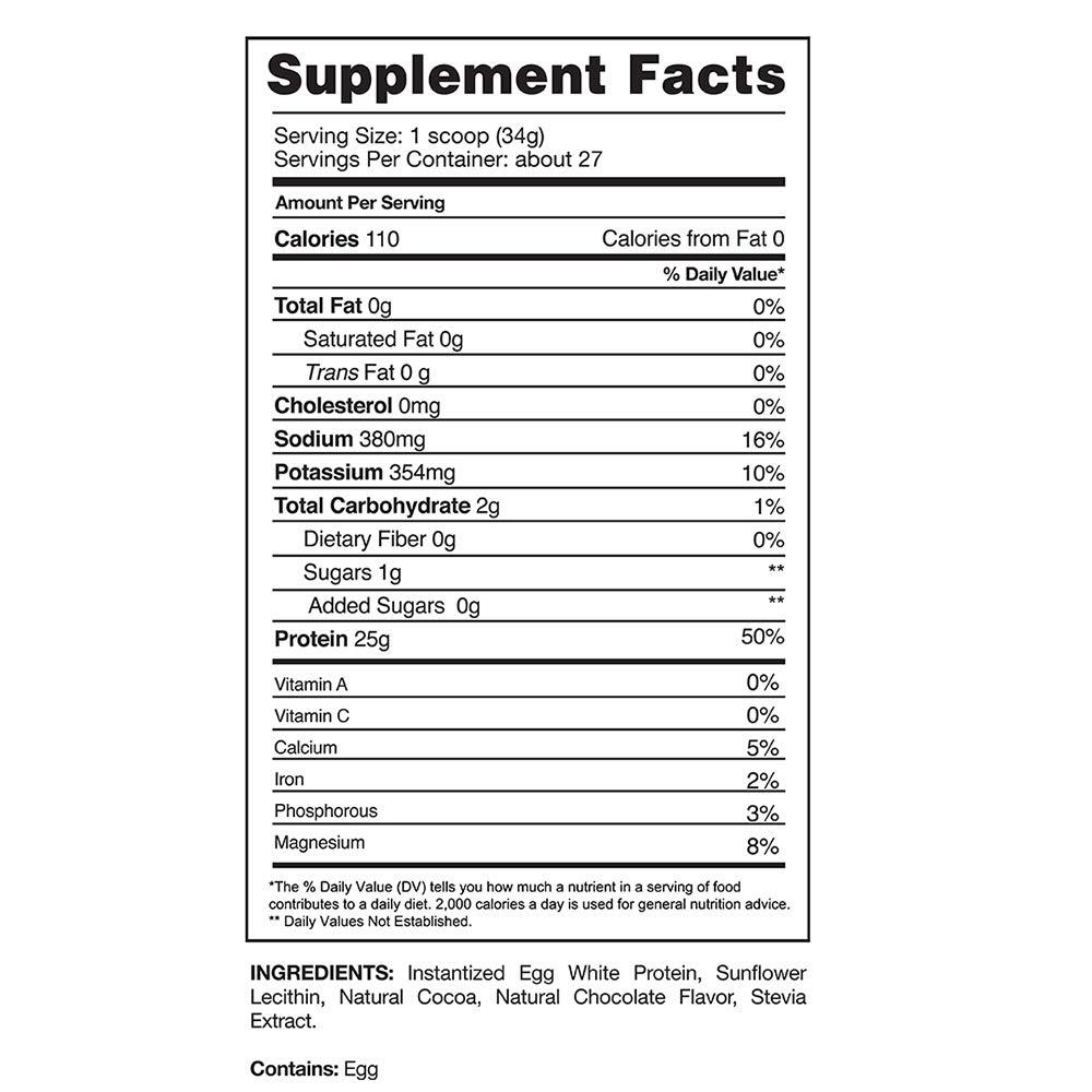 Gaspari Nutrition Proven Egg 100 Egg White Protein Chocolate 2 lb 900 g
