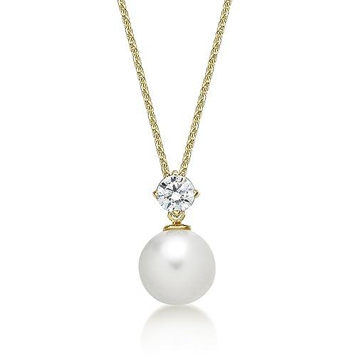634449c54f419 Diamond Treats Collier avec Pendentif Perle d eau Douce Blanche Lustrée  8-8.5mm
