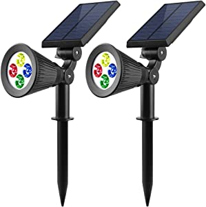 F-TECK Solar Spotlights, 2-in-1 Colored Adjustable 4 LED Wall/Ground Landscape Solar Lights with Automatic On/Off Sensor Dusk to Dawn, 2 Pack