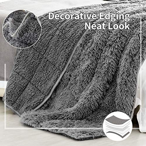 immtree Shaggy Faux Fur Weighted Blanket 15lbs for Adult,immtree Luxury Cozy Long Hair Heavy Blanket 48