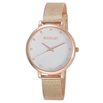 METROPOLITAN - montre femme - modele SPOTLIGHT, dore rose/blanc - Made with Crystals