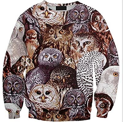 Joyhy Women's Pullover Cute Animal Digital 3D Printed Sweatshirt Hoodies