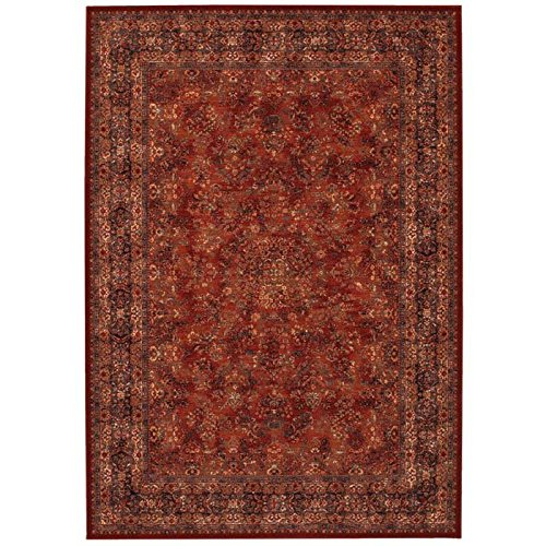 Couristan 1726/3200 Old World Classics Antique Kashan 54-Inch by 78-Inch Wool Area Rug, Burgundy/Navy