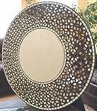 "Lulu Decor, Clearance Frosty Decorative Mosaic Mirror Pieces Wall Mirror in Black Cement, Decorative Handmade Round Mirror, Diameter 23.5"", Mirror 11.5"""