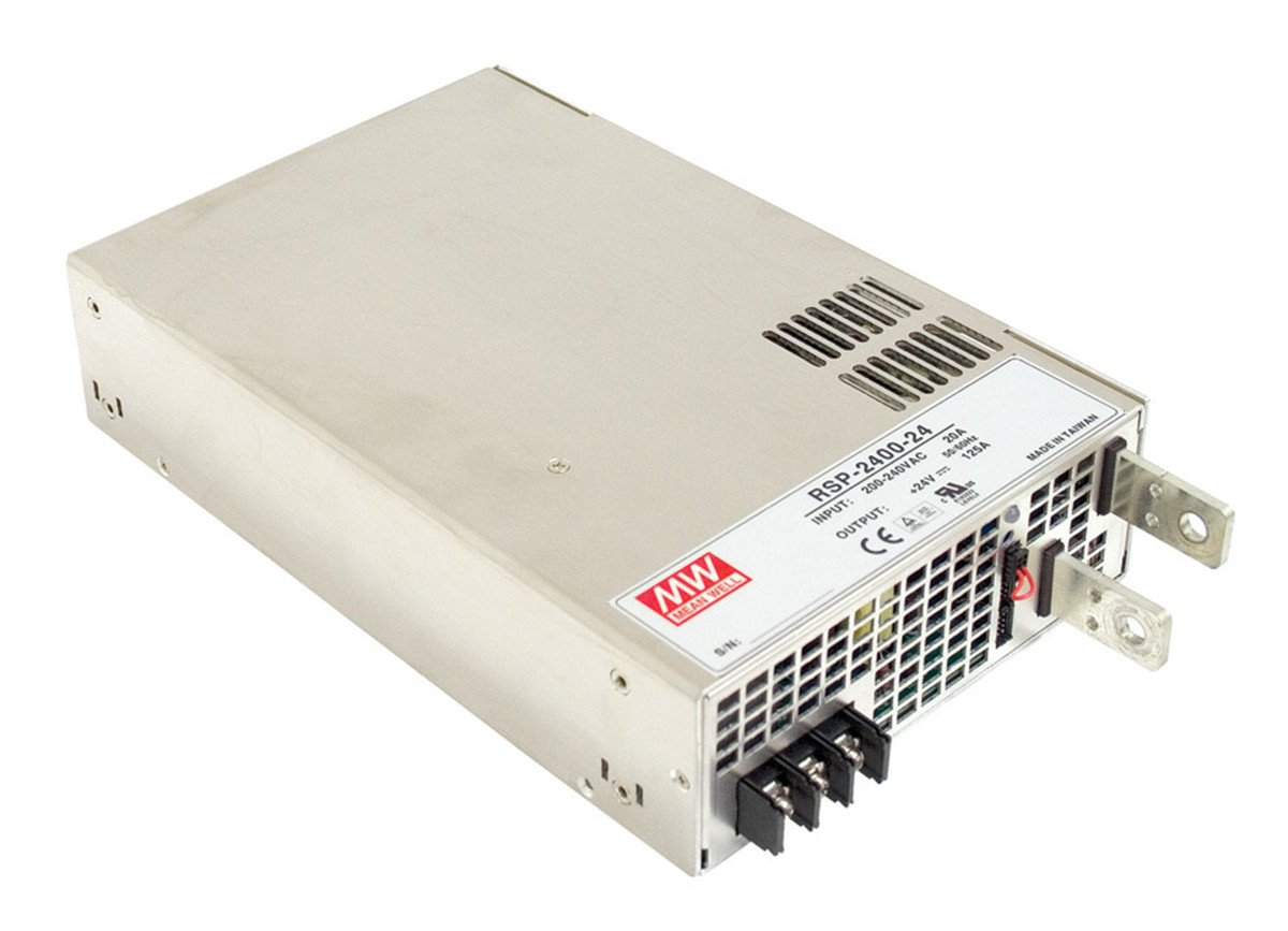 Mean Well RSP-2400-24 AC to DC Power Supply, Single Output, 24 Volt, 100 Amp, 2.4K Watt, 10.9'' L x 7'' W x 2.5'' H