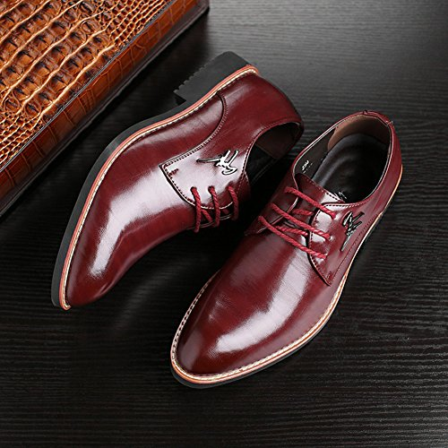à Pointu Ville Oxford Bureau Affaire Bout wealsex Bordeaux de Mariage Chaussures Chaussure Homme Derby Costume Lacets Cuir q1FntvxwEn