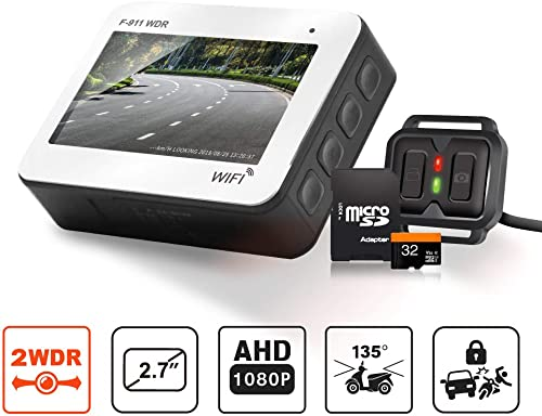 Front and Rear Motorcycle Dash Cam – Full HD 1080P WDR Sensor IP68 Waterproof DVR Dual Recording Capacitor WiFi Connectivity with Best Night Vision