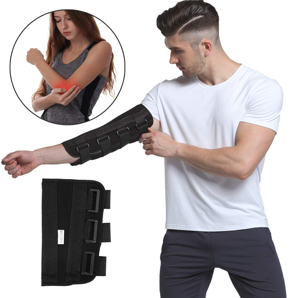 Elbow Splint Brace Arm Immobilizer, Adjustable Hinged Strap Forarm Braces Support Band Wrap Belt for Fracture Stabilizer, Cubital Tunnel, Ulnar, Injuries, PM Night Protector Sleeve (L)