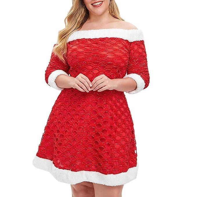 e5d93e0941e Amazon.com  Newkelly Christmas Women Fluffy Plus Size Off The Shoulder Mini  Dress  Clothing
