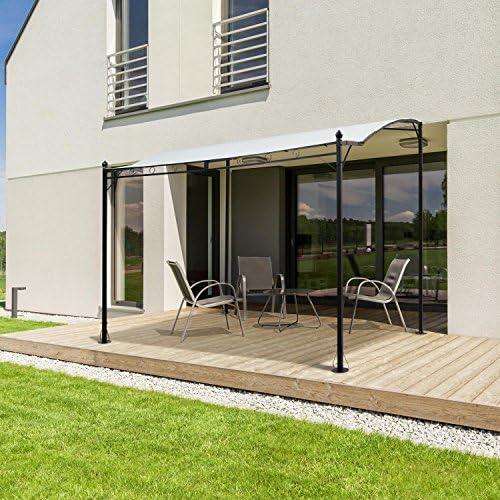 Blum feldt Allure • Carpa • Pergola • Protección Solar • Terraza vordach • construcción ligeras de acero • poliéster impermeable. • de PU. • resistente a la intemperie. • Negro de color beige claro: Amazon.es: Jardín