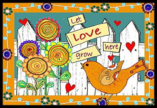 Multicolor Carolines Treasures PJC1108JMAT Raindrops on Poppies Indoor or Outdoor Mat 24 x 36