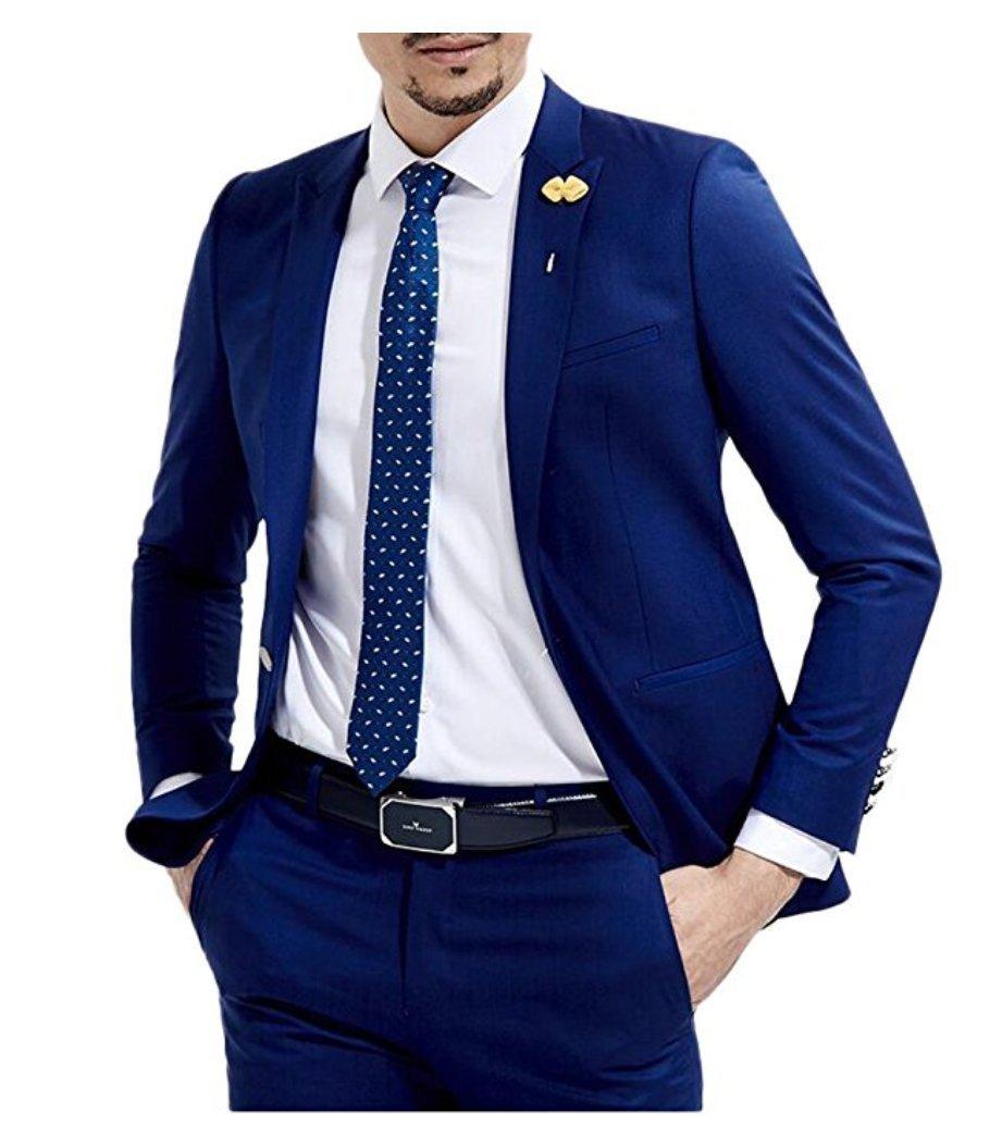 Botong Slim Fit Royal Blue Wedding Suits 2 Pieces Men Suits Groom Tuxedos (38 chest/32 Waist, Royal Blue)