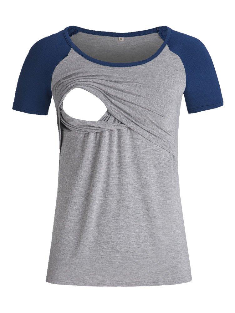 BBHoping Women's Raglan Sleeve Nursing Tops Baseball Crew Neck Short Sleeve Comfy Breastfeeding Shirts