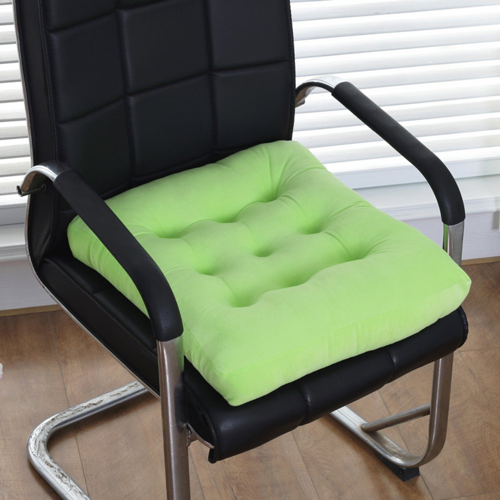 SKWEEFKDND Soft chair cushion Pad,Perfect pillow indoor Outdoor,Kitchen office seat Pads,Car seat cushion,Black-light green 40x40cm(16x16inch)