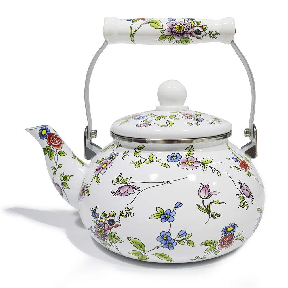 Stove Top Teakettle 2.5 Quart Enamel on Steel Teapot floral,Large Porcelain Enameled Teakettle,Colorful Hot Water Tea Kettle pot
