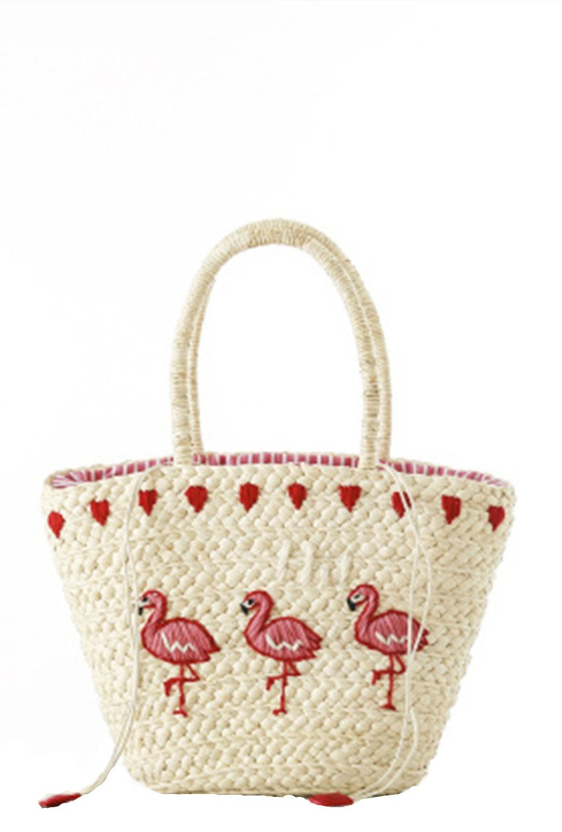Mogor Women Straw Shoulder Bag A5 Woven Shopping Tote Bag Drawstring Beach Bag Large 1# by Mogor (Image #1)