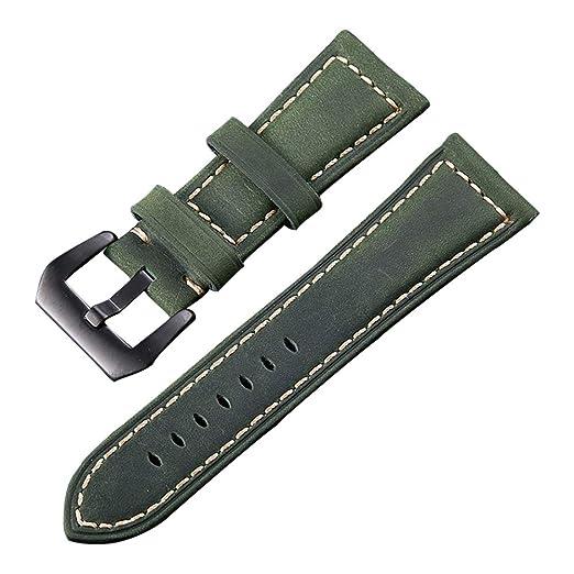 b26677d919e5 20mm Verde de Cuero Genuino Correa de Reloj de 2 Packs Loco Caballo de  Recambio Fabricado en Cuero Reloj Deportivo de la Banda con Hebilla de  Acero ...
