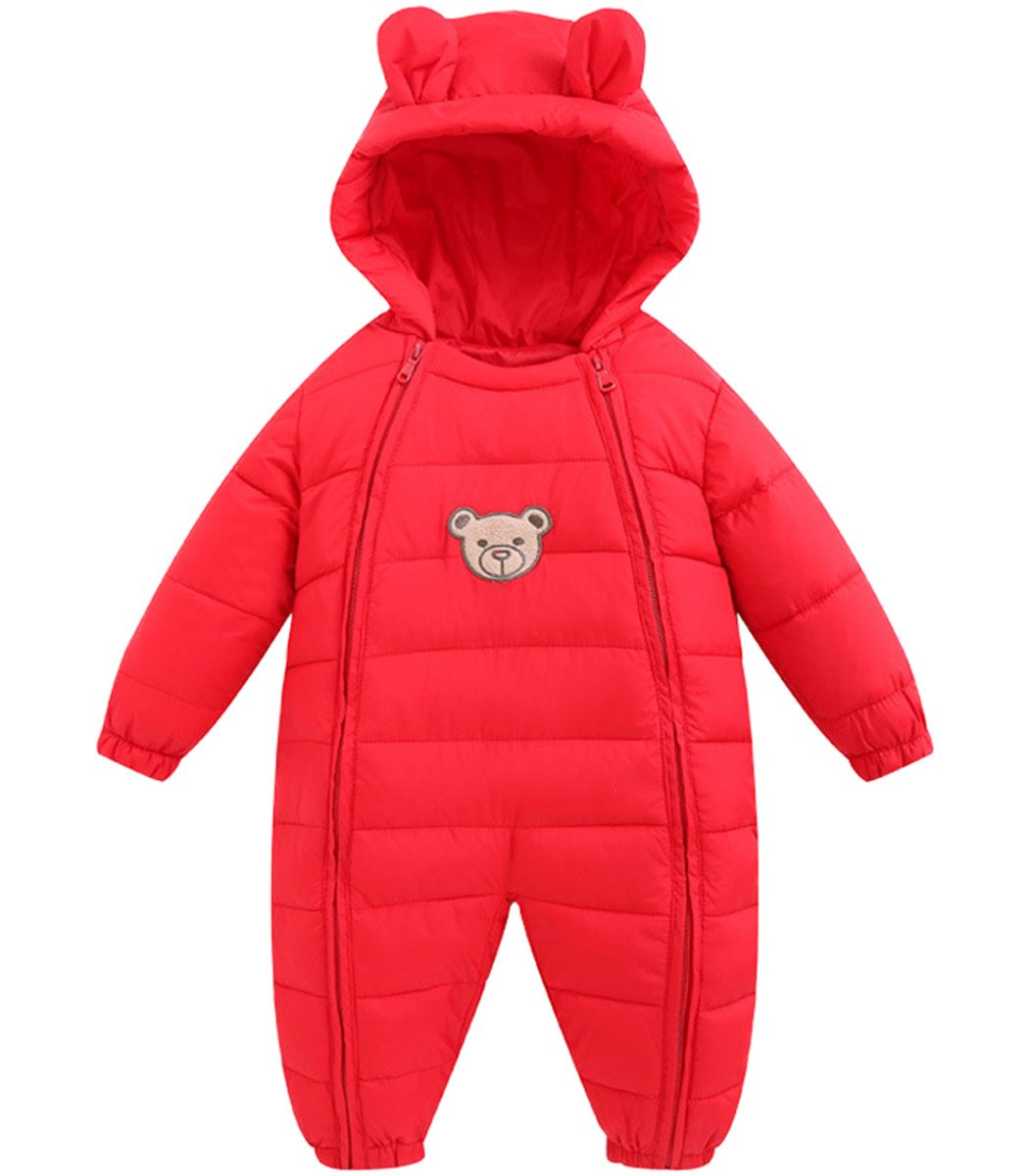 JELEUON Baby Girls Boys One Piece Two Zippers Bear Winter Down Jacket Romper Jumpsuit