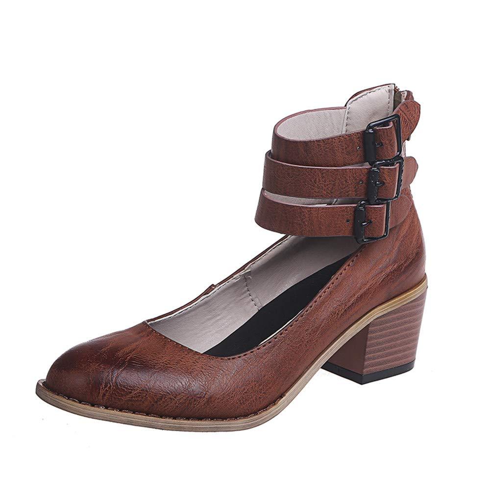 Femme Bloc Talons Mary Jane Escarpins /Ét/é Cuir Plateau Mode F/ête Sandales Chaussures de Ville /Él/égant Haut Talons 5 CM Noir Marron Beige 35-43