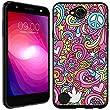 LG Fiesta case - [Love Peace Theme] (Black) PaletteShield Soft Flexible TPU gel skin phone cover (fit LG Fiesta/ X Charge/ X Power 2/ L63BL/ L64VL)