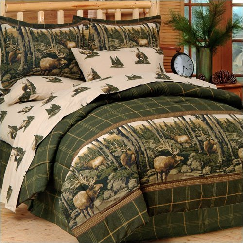 Blue Ridge Trading Rocky Mountain Elk Complete Bed Set, Queen, Green/Brown (Natural Color Bedding)
