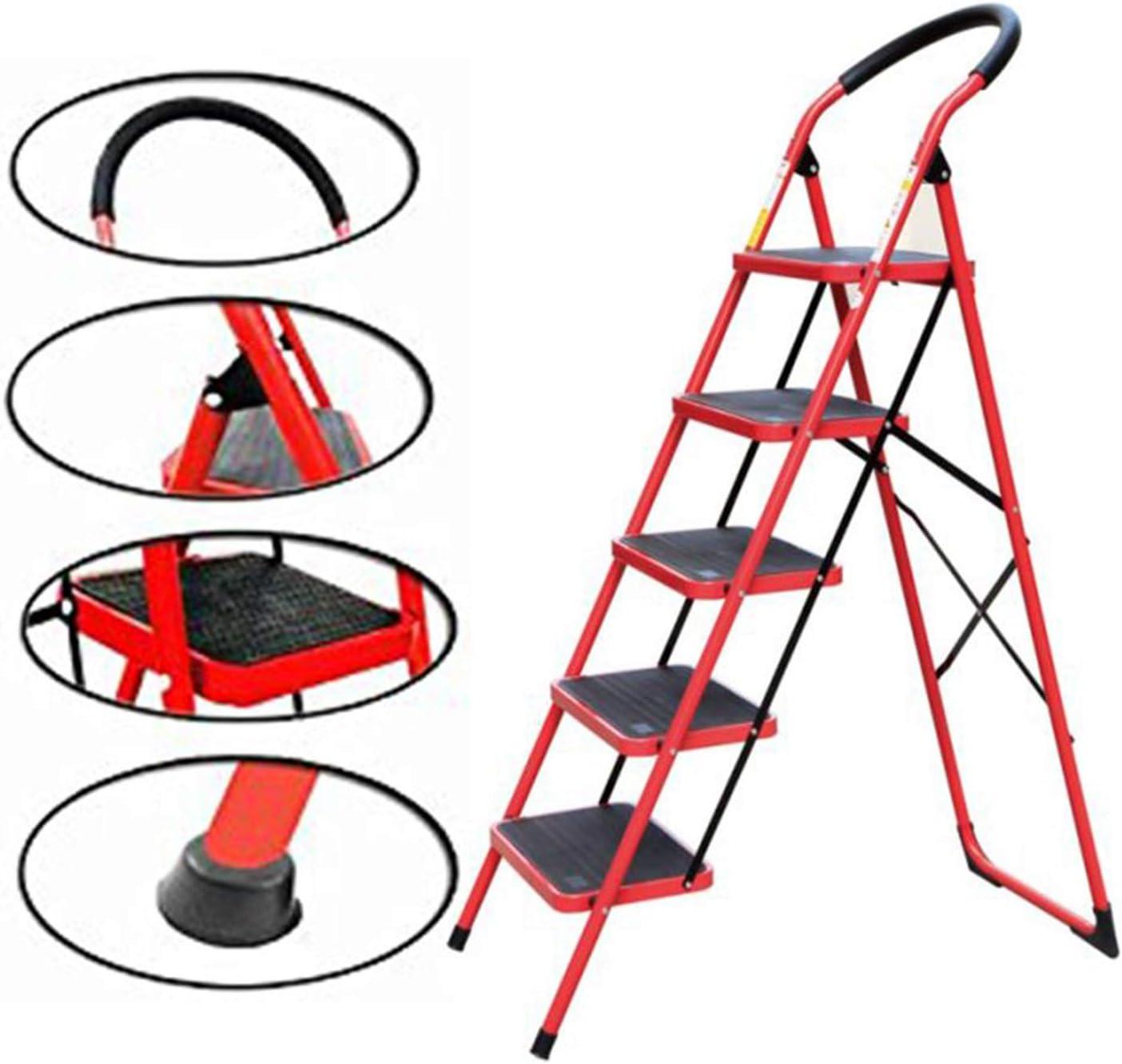 Gabz - Escalera multiusos para uso en interiores y exteriores, color rojo con agarre de mano, rojo: Amazon.es: Bricolaje y herramientas