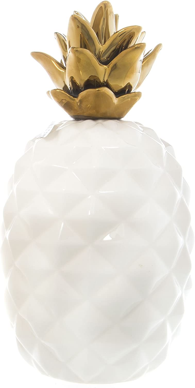 "Home Essentials Ceramic Metallic 11"" Pineapple Centerpiece White/Gold"