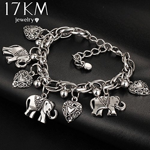 ry Fashion Bracelets For Women Pendant Elephant leaf Pulseira Alloy Bohemian (Bezel Circle Bracelet)