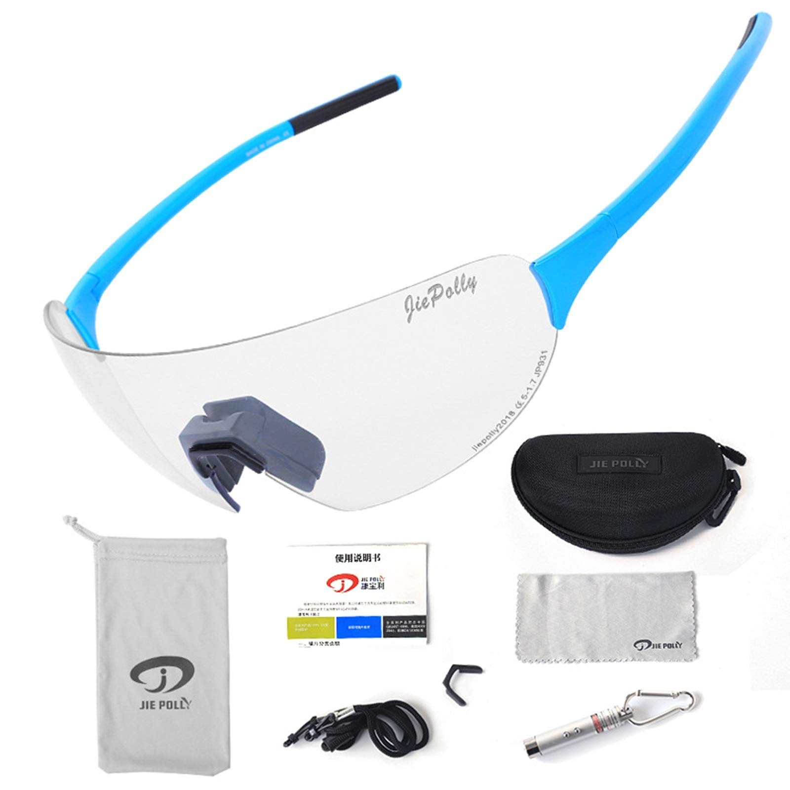Adisaer Winter Sport Protection Goggles Outdoor Sports Riding Color-Changing Glasses Men and Women Running Fishing Bicycle Windproof Polarized Glasses Blue Standard for Adults