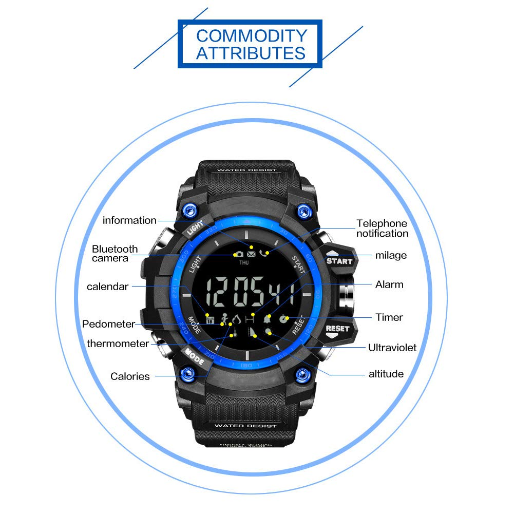 Men\'s Outdoor Sports Bluetooth Watch with Temperature Barometer Altimeter UV Monitor Digital Smart Watches with Call Message Reminder for Android iOS Phone (Silver Black)