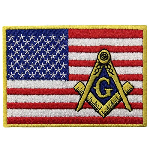 American Flag Masonic Patch Embroidered USA Square Compass Applique Iron On Sew On Emblem