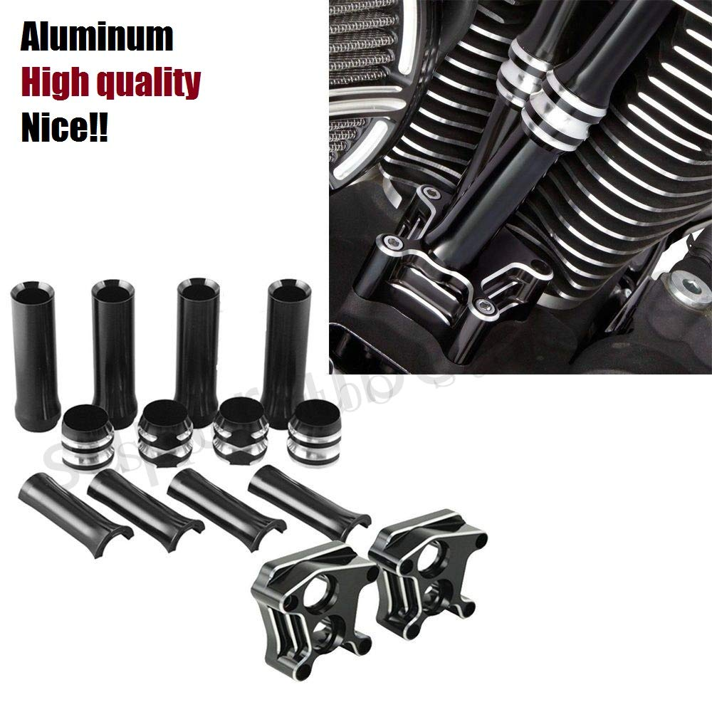 INDNICE Gauge Pushrod Lifter Block Covers for Harley Twin Cam Electra Glide Ultra Classic Road Glide softail Fat Boy FLSTF Dyna Super Glide 07-14
