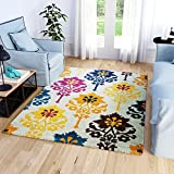 Super Area Rugs, Colorful Tribal Medallions Boho Area Rug Stain Resistant Ivory Purple Yellow Teal Carpet, 5′ 3″ x 7′ 3″ For Sale