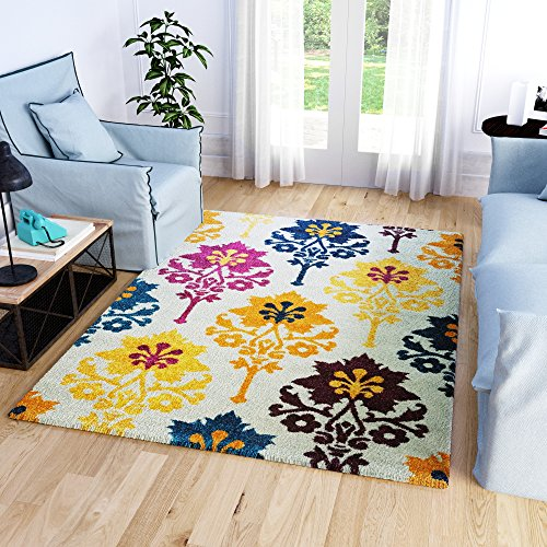 Super Area Rugs, Colorful Tribal Medallions Boho Area Rug Stain Resistant Ivory Purple Yellow Teal Carpet, 7' 10