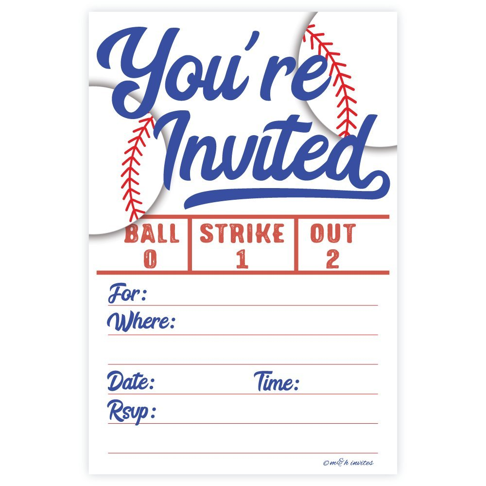 Baseball Party Invitations (20 Count) With Envelopes