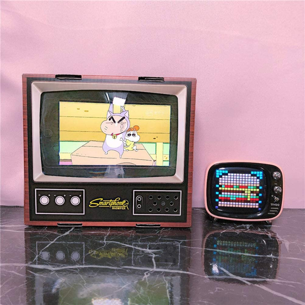 POPETPOP Mobile Phone Magnifying Glass Creative Home Paper Retro TV Magnifying Glass Desktop Decoration TV Screen Mobile Phone Screen Amplifier