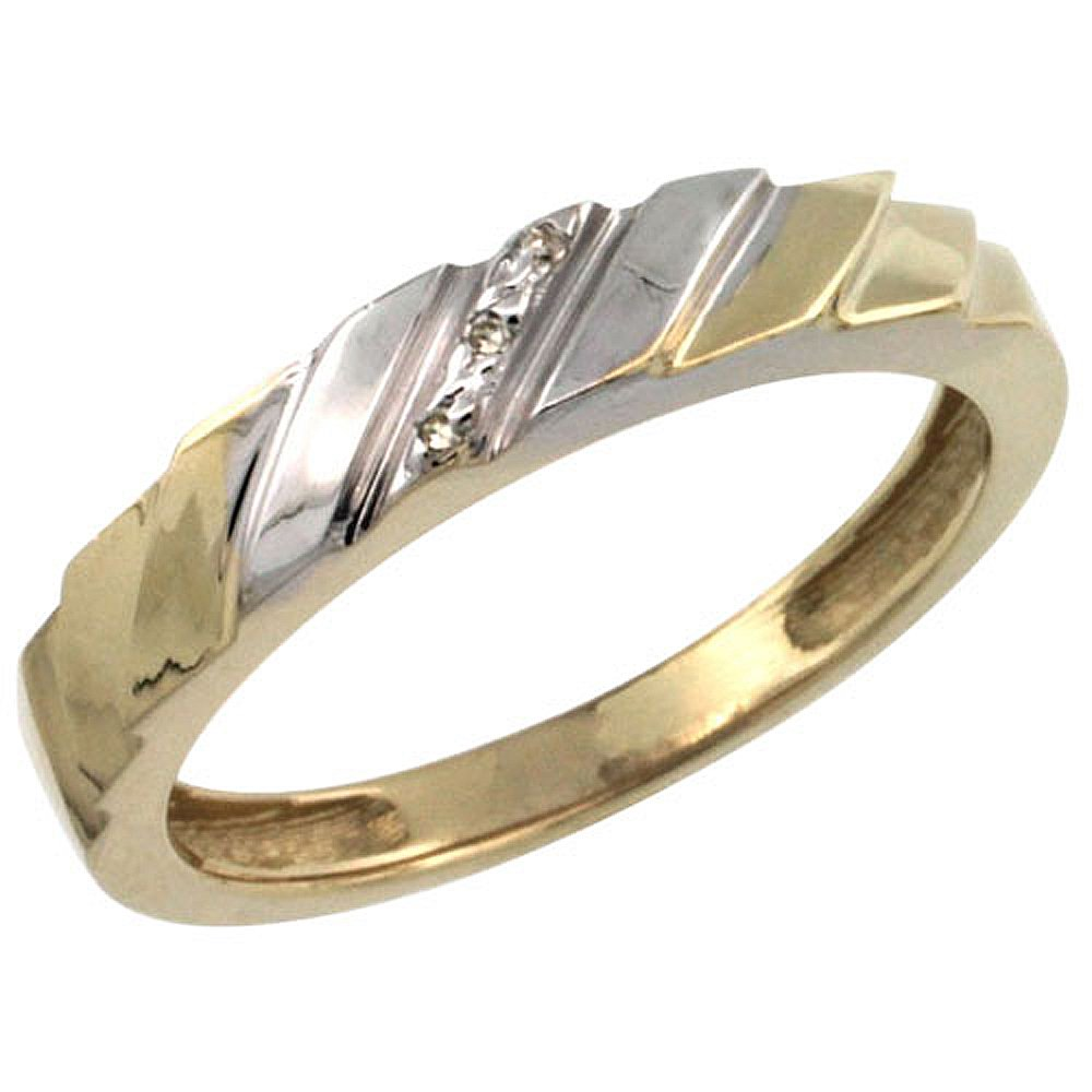 Gold Plated Sterling Silver Ladies Diamond Wedding Ring 5//32 inch wide