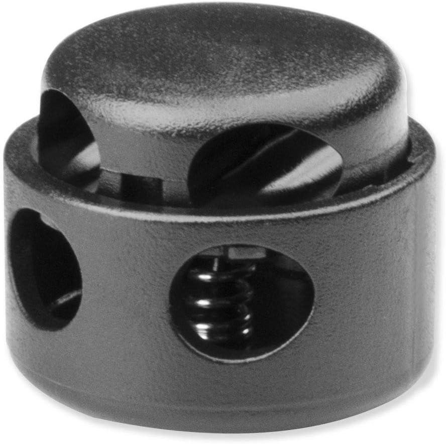 Plastic Cord Locks End Toggle Double Hole Spring Stopper Fastener Slider Toggle End(Black,10 PCS)