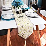 Modern Simple Fashion Table Flag,Chinese Geometric Embroidery Table Cloth,Coffee Table Cloth Bed Flag Flag-C 29x260cm(11x102inch)