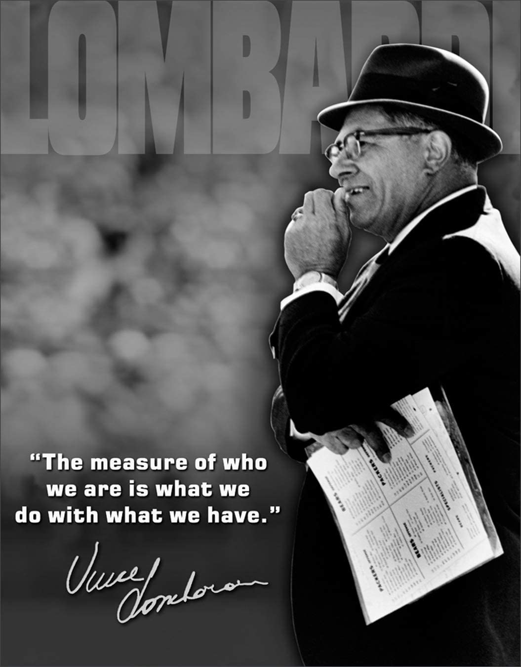 """Desperate Enterprises Vince Lombardi - Measure of Who We are Tin Sign, 12.5"""" W x 16"""" H"""