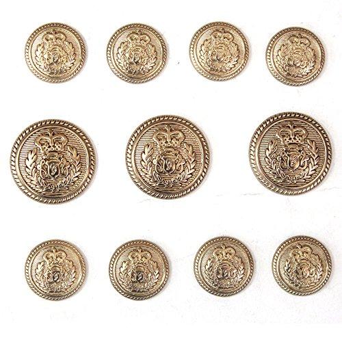Antique Gold Button (Antique Gold Metal Buttons Set for Blazer Sport Coat or Suit Jacket button)
