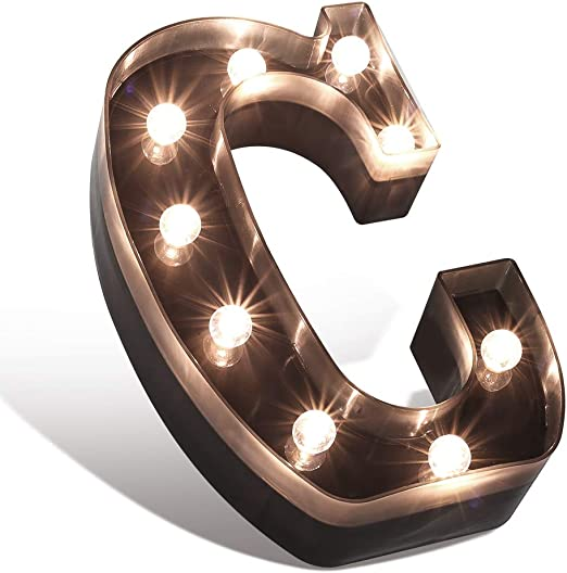 Glintee LED Marquee Letter Lights Black Alphabet Light Up Sign for Wedding Home Party Bar Decoration Battery Powered Letter Decor-C