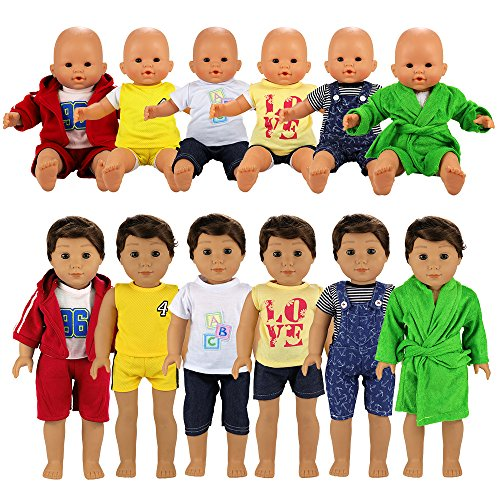 BARWA Boy Doll Clothes 6 Sets Boy Doll Clothes Daily Casual Clothes Outfits Compatible for 14 to 16 Inch Baby Doll and 18 Inch Boy - Boy Baby Clothes Doll