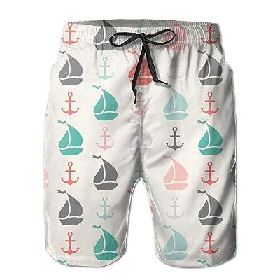 Usieis Anchor and Sailboat Shape Surfing Pocket Elastic Waist Men's Beach Pants Shorts Beach Shorts Swim Trunks