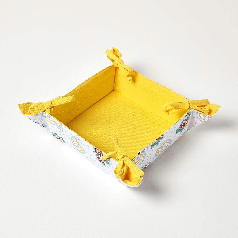 Homescapes Brotkorb Stoff eckig Wendemuster Paisley /& Dots Design Br/ötchenkorb Textil 100/% Baumwolle