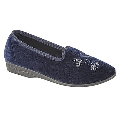 42af908762b Mesdames bleu marine en velours brodé Tab Chaussons – Celia
