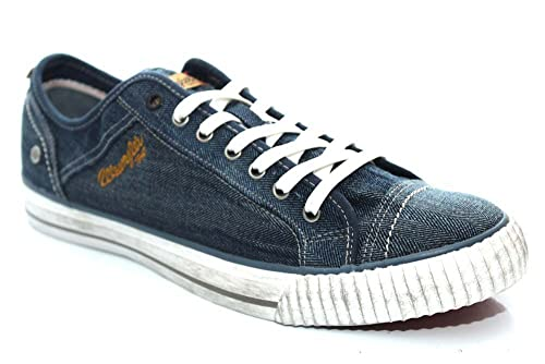 Mens Wrangler Canvas Trainers Shoes Size Uk 6 - 12 Grey Navy White Starry Low-White-Uk 9 (eu 43) AnrL23SxNy